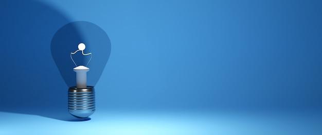 Concept D'éducation. 3d D'ampoule Sur Fond Bleu. Concept Isométrique De Design Plat Moderne De L'éducation. Retour à L'école. Photo Premium