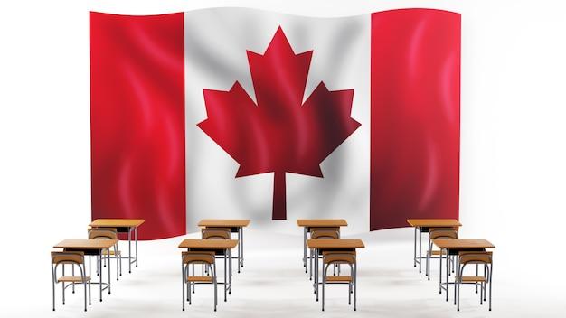Concept D'éducation. 3d De Bureaux Et Drapeau Du Canada Sur Fond Blanc. Photo Premium