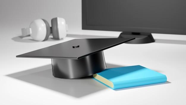 Concept D'éducation. 3d De Chapeau Sur Livre Sur Fond Flou. Concept Isométrique De Design Plat Moderne De L'éducation. Retour à L'école. Photo Premium