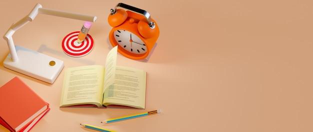 Concept D'éducation. Rendu 3d De Livre Et Crayon, Concept Isométrique De Design Plat Moderne Photo Premium