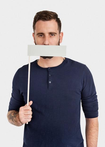 Concept éligible interdit interdit à la bouche d'un homme Photo Premium