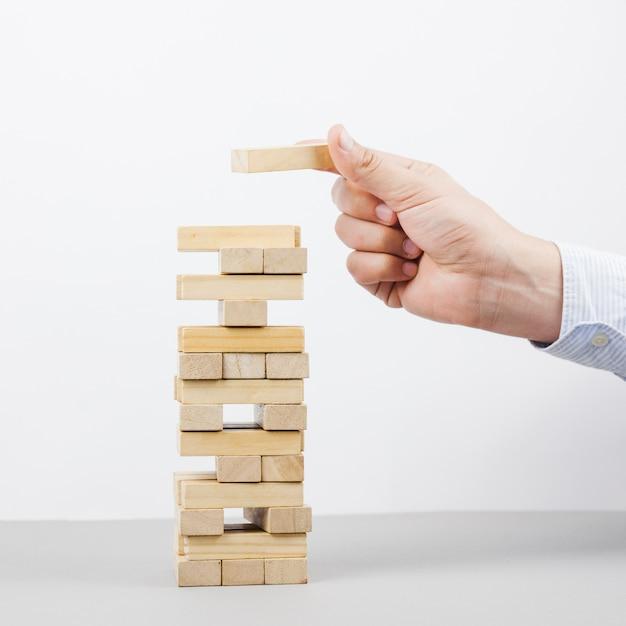 Concept d'entreprise avec des blocs de bois Photo gratuit