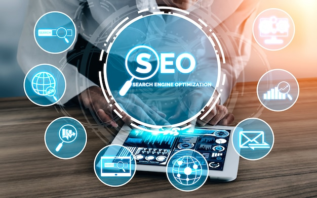 Concept D'entreprise Seo Search Engine Optimization Photo Premium