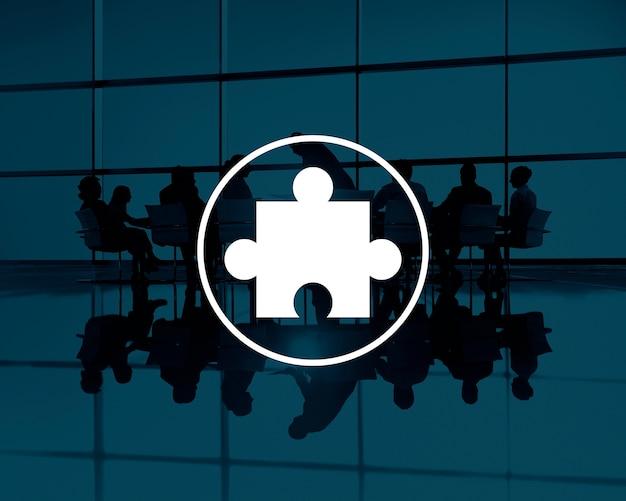 Concept d'équipe de travail d'équipe de partenariat de puzzle Photo gratuit