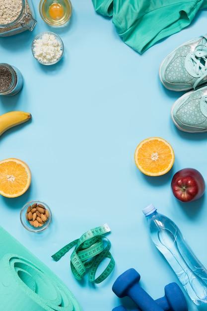Concept de fitness et une bonne nutrition saine. espace pour le texte. Photo Premium