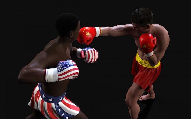 Concept de guerre commerciale entre les etats-unis et la chine. illustration 3d deux boxeurs battant pavillon des états-unis et de la chine pour le concept: guerre commerciale. Photo Premium