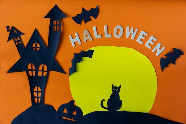 Concept d'halloween avec château de la maison hantée Photo Premium