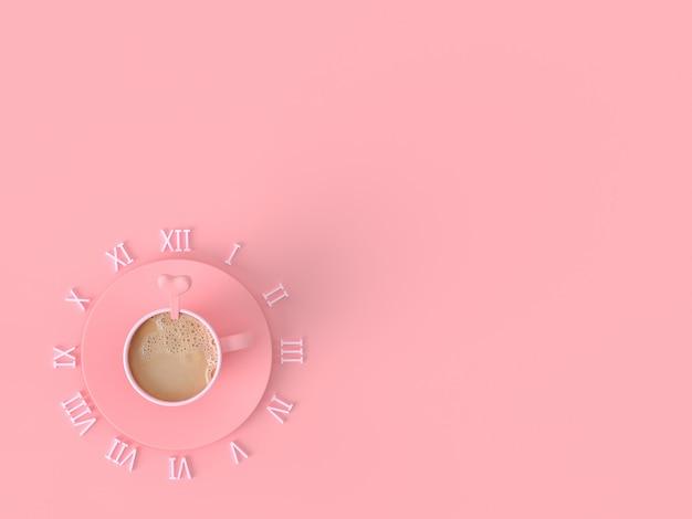 Le concept d'idée du moment de l'amour. tasse de café au lait rose sur fond pastel rose avec espace copie pour votre texte, rendu 3d. Photo Premium