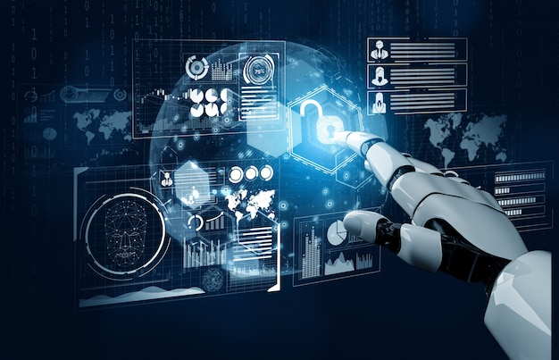Concept D'intelligence Artificielle De Robot Futuriste Photo Premium