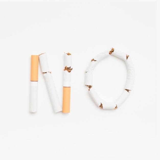 Concept d'interdiction de fumer au-dessus d'un fond blanc Photo gratuit