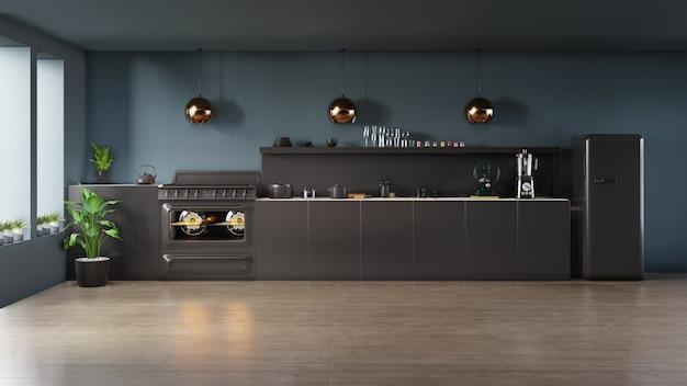Concept d'intérieur de cuisine sombre. Photo Premium