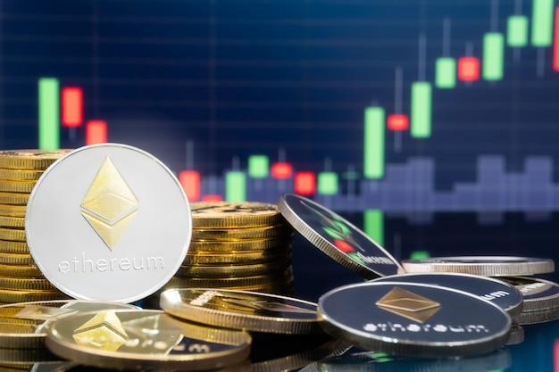 Concept d'investissement ethereum et crypto-monnaie. Photo Premium
