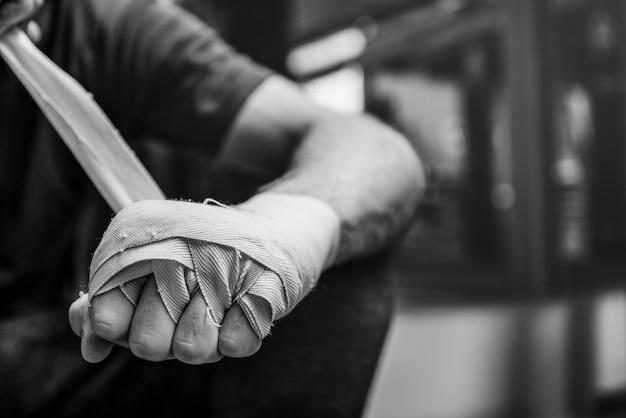 Concept de jointure de protection d'enveloppement de mains de boxeur Photo Premium