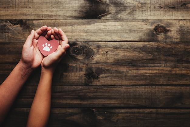 Concept De La Journée Mondiale De L'animal Et Des Animaux De Compagnie. Mains Tenant Un Coeur Avec Les Pieds De L'animal. Photo Premium