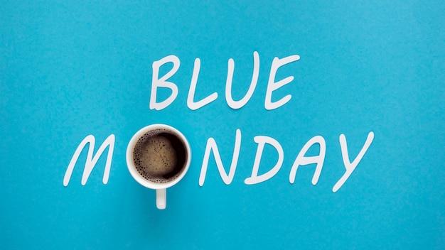 Concept De Lundi Bleu Avec Tasse De Café Photo gratuit