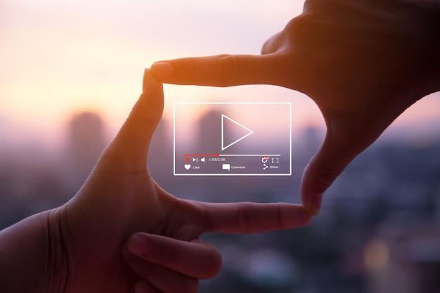 Concept de marketing vidéo en direct en ligne Photo Premium