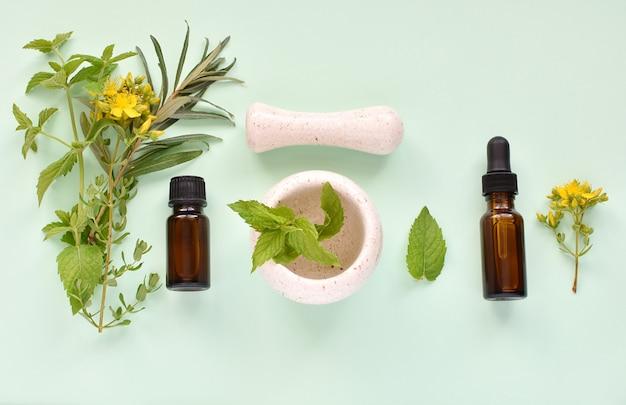 Concept de médecine alternative à base de plantes, huiles essentielles et extraits, herbes fraîches, mortier et pilon. Photo Premium