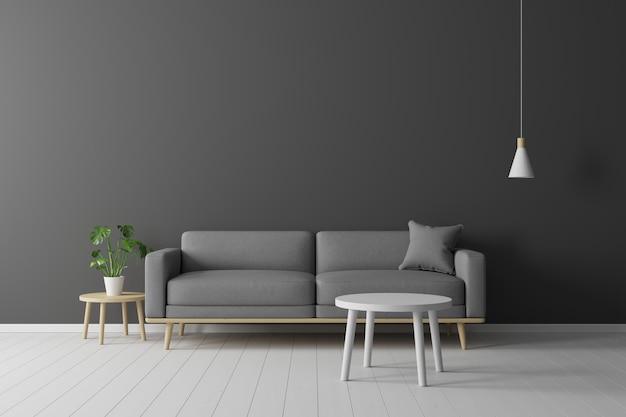 Concept minimal. intérieur de salon gris tissu tissu, table en bois, lampe de plafond et cadre sur plancher en bois et mur noir. Photo Premium