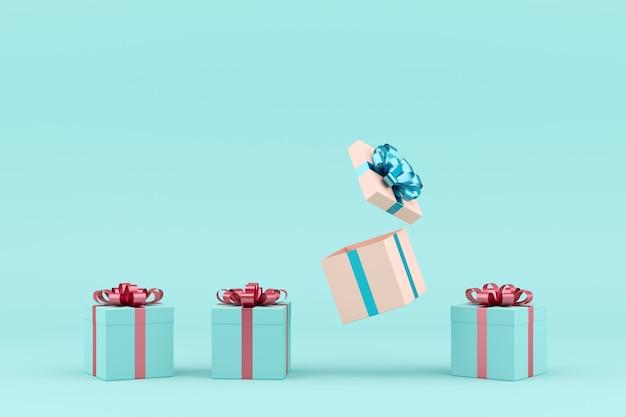 Concept minimal. ruban blanc de boîte cadeau blanc exceptionnel et ruban rose de boîte cadeau bleu sur fond bleu. Photo Premium