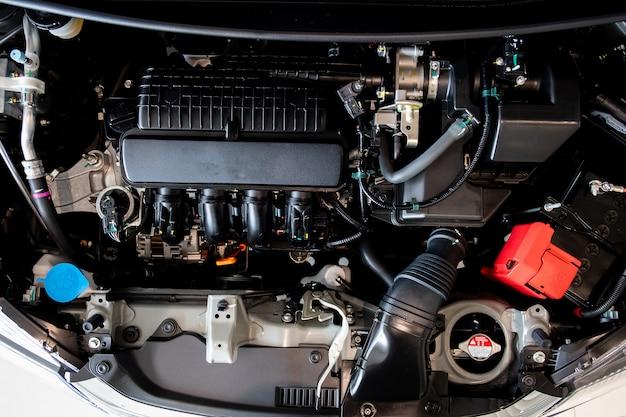 Concept de moteur de moteur de voiture close up detail of new motor engine part Photo Premium