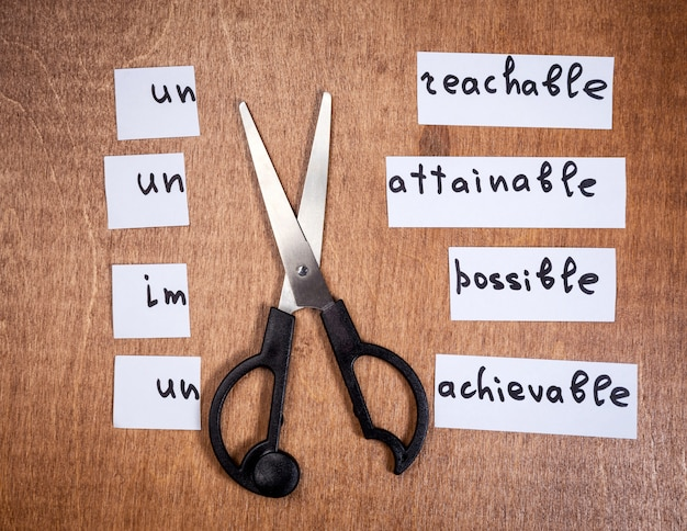 Concept de motivation personnelle. mots négatifs coupés avec des ciseaux. Photo Premium