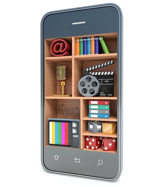 Concept Multimédia Smartphone, Fond Blanc Isolé Photo Premium