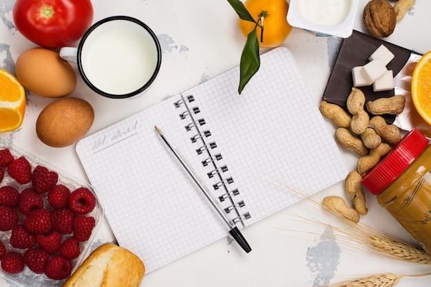 Concept de nourriture d'allergie Photo Premium