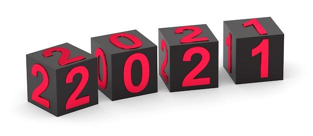 Concept De Nouvel An Cubes Noirs Avec Numéro Rouge Photo Premium