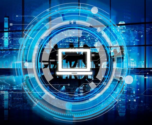 Concept d'ordinateur portable digital blue hud interface Photo gratuit