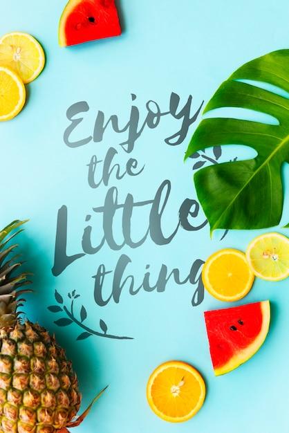 Concept de pastèque summer ananas oranges Photo gratuit