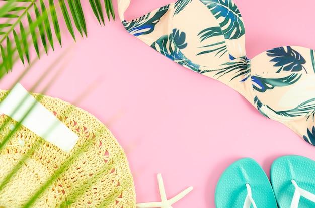Concept de plage à plat d'été Photo Premium