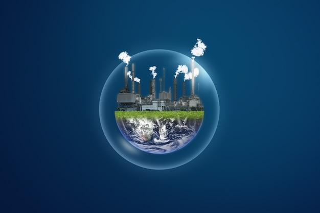 Concept De Pollution Et De Réchauffement Climatique. Centrale électrique Sur Bulle Transparente Photo Premium