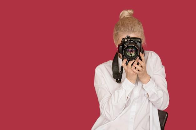 Concept De Prise De Vue Fille Prise De Photo Photo Premium