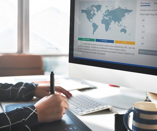 Concept de rapport d'analyse d'articles de presse marketing Photo Premium