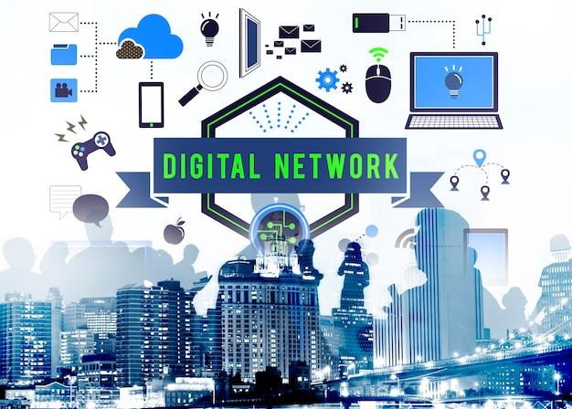 Concept de réseau local de connexion à un ordinateur de réseau numérique Photo gratuit
