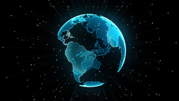Concept de réseau mondial croissant. Photo Premium