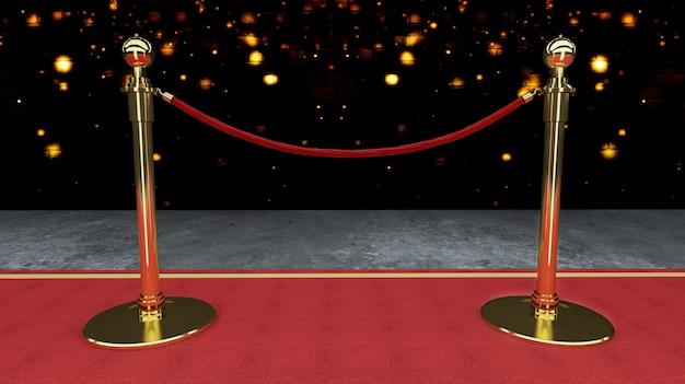 Concept de réussite et de triomphe du tapis rouge, des escaliers et de la corde d'or Photo Premium