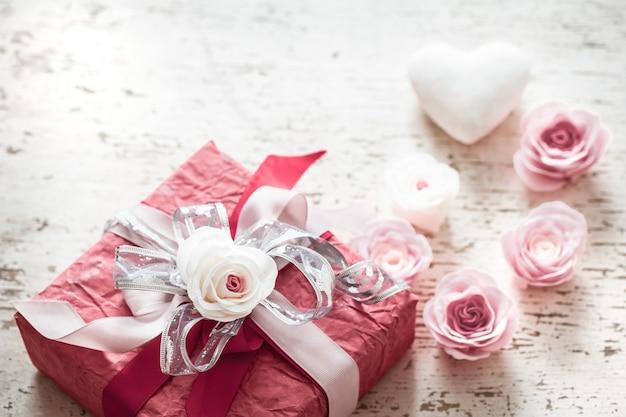 Concept De La Saint-valentin Et De La Fête Des Mères, Coffret Rouge Photo Premium