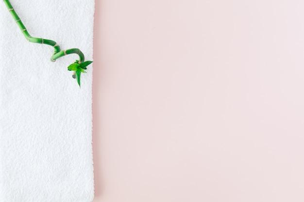 Concept Spa: Pile De Trois Rouleaux De Serviettes De Bain Moelleuses Blanches Avec Des Plantes Vertes En Bambou Lucky Sur Des Panneaux Blancs Photo Premium