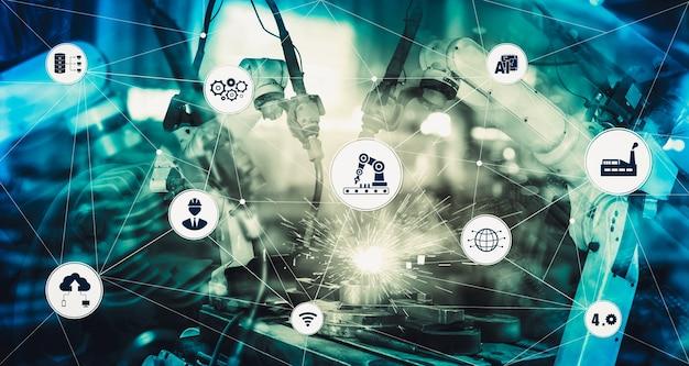 Concept Technologique Industriel De L'usine Intelligente Pour La Quatrième Révolution Industrielle Photo Premium
