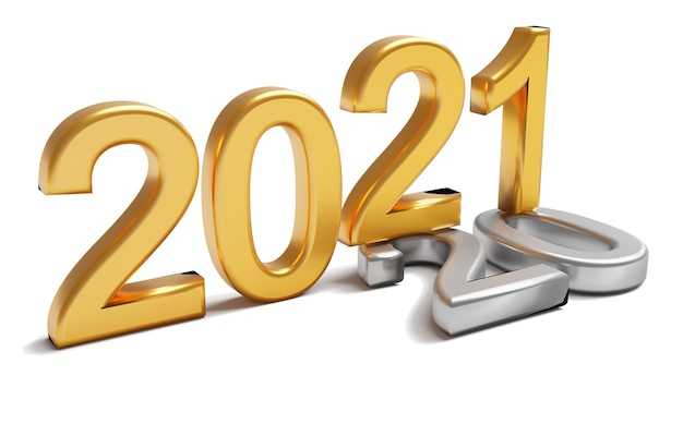 Concept De Vacances De Nouvel An 2021. Le Nombre D'or 2021 Se Situe à 2020 Photo Premium