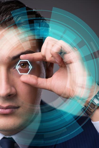 Concept de vision futuriste avec homme d'affaires Photo Premium