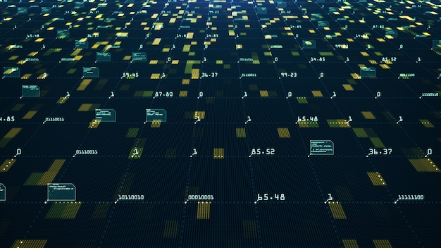 Concept de visualisation de données volumineuses. algorithmes d'apprentissage machine. analyse de l'information. données de technologie et réseau de code binaire transportant la connectivité. Photo Premium