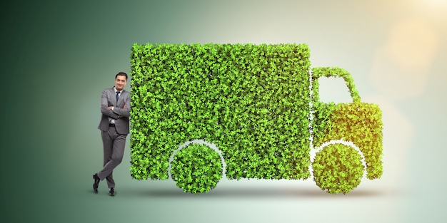 Concept de voiture électrique dans le concept de l'environnement vert Photo Premium