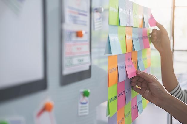 Concepteur de sites web faisant un brainstorming pour un plan stratégique. Photo Premium