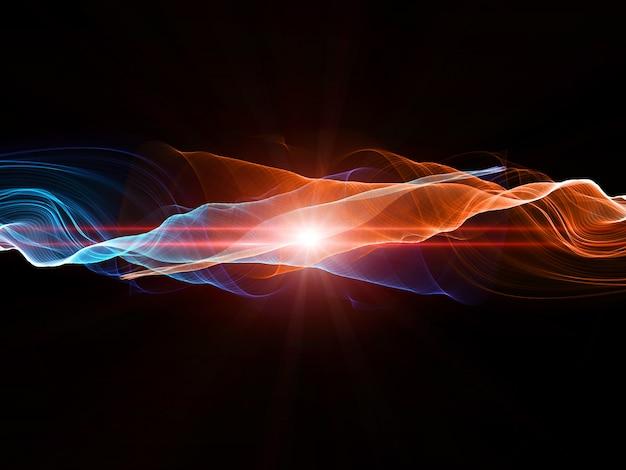 Conception abstraite avec des lignes fluides dans des couleurs chaudes et froides Photo gratuit