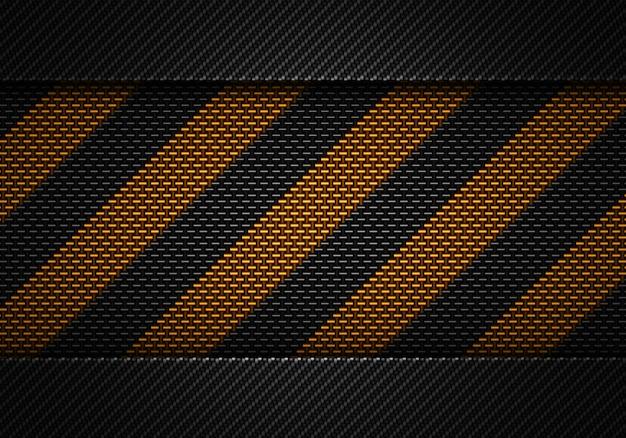 Conception abstraite de matériaux texturés de carbone noir avec ruban d'avertissement Photo Premium