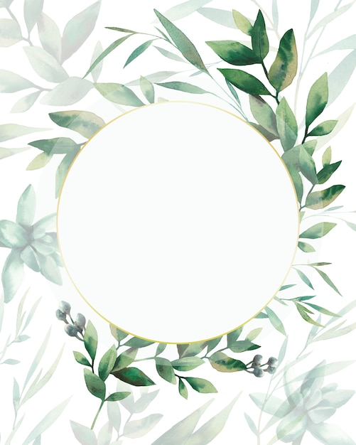 Conception De Cartes De Verdure Aquarelle. Modèle Floral Peint à La Main: Cadre De Plantes Rondes Sur Fond Blanc. Photo Premium