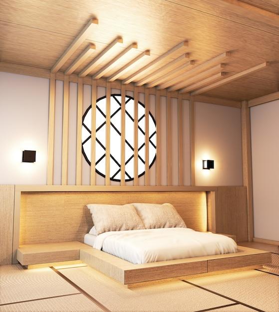 Amenajare dormitor in stil japonez, cu design 3 d ascuns in perete;
