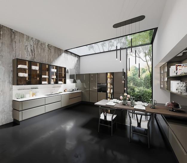 Conception De Cuisine Moderne Avec Table Et Chaise Photo Premium